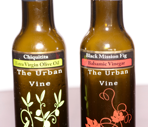 a bottle of Chiquitita Olive oil and Black Mission Fig Balsamic Vinegar