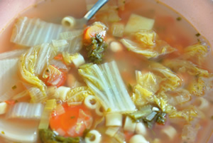 Napa Cabbage soup in a soup bowl