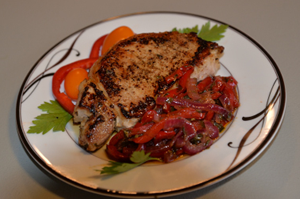 Pork Chops with Sweet & Sour Red Pepper & Onion