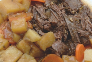 cooked Pot Roast with Potatoes and Carrots