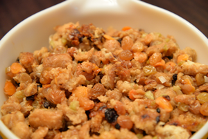 Stuffing in a bowl